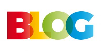 The word Blog. Vector banner with the text colored rainbow.
